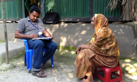Observation of Annual Impact Survey data collection for one project in Bangladesh. This survey is carried out by the project's own outreach staff. The survey questionnaire collects all kinds of agricultural indicators and some consumption information, and lasts about two hours.