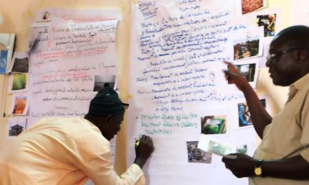 Aliou Babou, Agriculture Advisor, guides workshop participants through the identification of nutrition-specific and nutrition-sensitive practices.