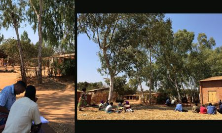 A contracted enumerator conducts an Annual Direct Beneficiary Agricultural Outcome Survey for one project in Malawi (left). Several enumerators formed a team, and farmers sampled for the survey gathered in the village open space waiting for their turn (right) .