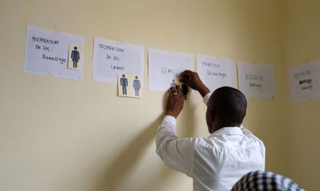 A participant from SMARTE indicates which gender performs the majority of the work during different steps of the rice value chain.