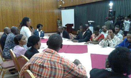 Head of Nutrition MoH Dr. Jacent raises breastfeeding issues before the Speaker of Parliament during the meeting (Photo credit: Moses Ssebale)