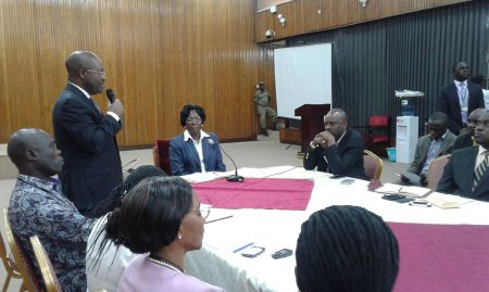 The Speaker of Parliament Rt. Hon. Rebeca Kadaga (seated center) listening to the Ag. DGHS Dr. Mboye during courtesy call to Parliament as part of breastfeeding week (Photo credit: Moses Sebale)