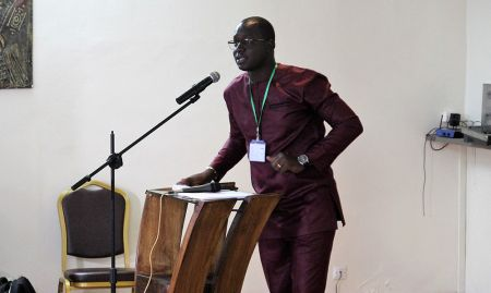 SPRING/Senegal SBCC advisor Albert Yera Boubane was the MC at the Kaolack close-out ceremony.