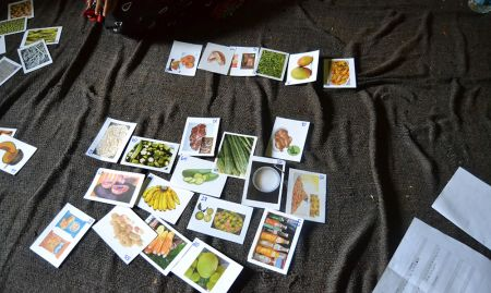 Food cards sorted by a focus group into piles. Each pile represents the availability of each food in the focus group's village (very available, somewhat available, and not available).
