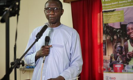 Dr. Doudou Sene, head doctor of the region of Kaolack and representative of the Governor of Kaolack, delivered a speech at the Kaolack close-out ceremony.