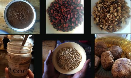In Zambia, soybeans and peanuts are made into a variety of local products. (Top left to top right: peanut butter, roasted peanut with skin, roasted peanut without skin; bottom left to bottom right: soya coffee (made from ground roasted soybeans), soybeans, scones made from soybeans)