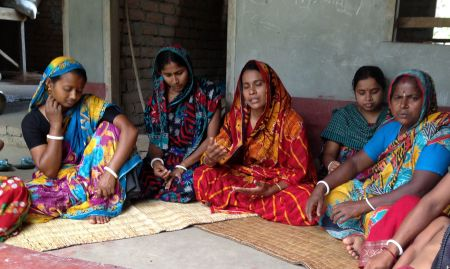 In Bangladesh, female farmers meet during a focus group discussion.
