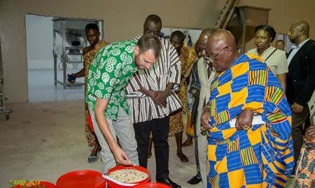 Martin Histand, PPB Director of Operations, explaining how the sorted groundnuts are used later in production of healthy foods.