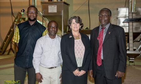 The JSI, Inc. SPRING team. From left to right: Jide Adebisi (SPRING Ghana DCOP-Programs), Dr. Henry Nagai, (JSI Strengthening the Care Continuum Project), Carolyn Hart (SPRING Project Director), Edward Bonku (SPRING Ghana Chief of Party).