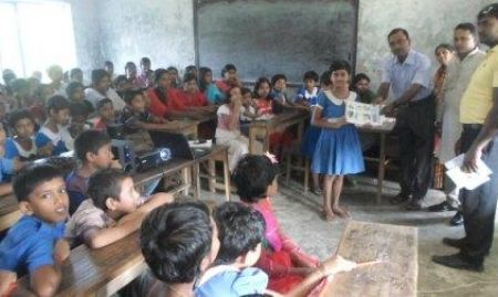 Classroom of children with coloring