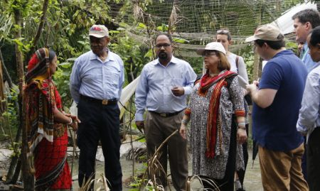 USAID Acting Administrator speaking with Ms. Aporna Shikder