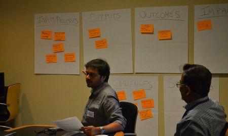 Participants discuss M&E frameworks in a breakout session.