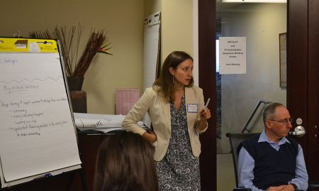SPRING SBCC Manager Kristina Granger leads a breakout session on challenges and solutions to health system service integration.