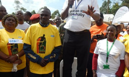 Leaders, including Steven Kiprotich, shared key nutrition messages with the crowds.