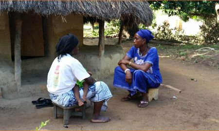 People from the communities were recruited for roles in the videos. Here, a woman is recruited for the handwashing video