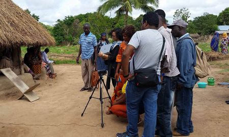 SPRING partners also participated. A partner from Digital Green is pictured here during the video production training.