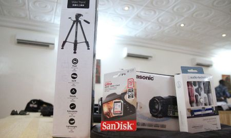 Each hub member received a video camera and accessories.