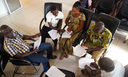 The training participants practiced story boards before filming shots for their videos. Participants have to develop an engaging story while incorporating key messages given from a package of practices developed by a technical team.