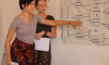 Peace Corps volunteers, Mackenzie and Lucy, explain how their group's section of the SPRING Guinea Nutrition Assessment relates to the pathways connecting agriculture and nutrition.