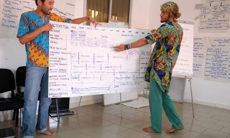 Two participants, Peace Corps volunteers Justin and Ethan, share their group's work on completing a seasonal calendar.