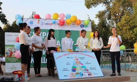 Medical college students perform about dietary diversity with a nutrition pyramid prop