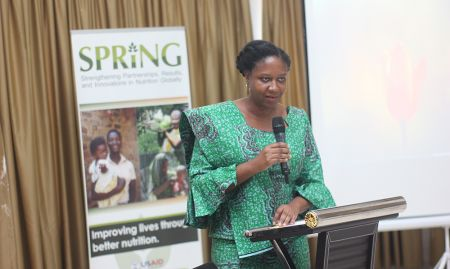 Ms. Akua Kwateng-Addo, USAID/Ghana Health Population and Nutrition Office Director, delivering her address.