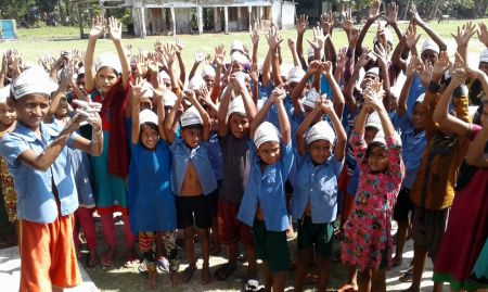 Children enjoying a handwashing demonstration