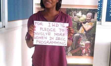 """For IWD '16, I pledge to involve more women in SBCC programming"""