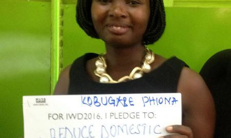 """""""For IWD '16, I pledge to reduce domestic violence; provide mosquito nets to breastfeeding mothers"""""""