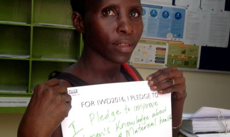 """""""For IWD '16, I pledge to improve women's knowledge about nutrition and maternal health"""""""