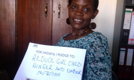 """""""For IWD '16, I pledge to reduce girl child hunger and undernutrition"""""""