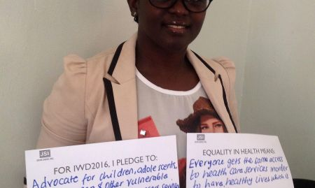 """For IWD '16, I pledge to advocate for children, adolescents, women, men, and other vulnerable groups with the same: access, services, and resources for health, nutrition, and food security. Equality in health means: everyone gets the same access to health care services in order to have healthy lives, which is fair and just. Equality, however, doesn't take into consideration the social, economic, and cultural status of an individual"""