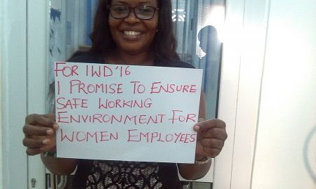 """""""For IWD '16, I promise to ensure safe working environment for women employees"""""""
