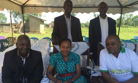 Front row, from left to right: Emmanuel Ahimbisibwe (MOH), Dr. Jacent Asiimwe (MOH), David Katuntu (SPRING). Back row, from left to right: Kasubi Wycliff (Namutumba District) and Kizito Ndegeya (Namutumba District)