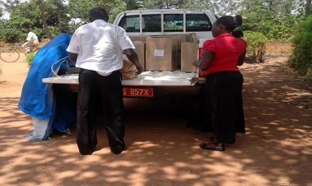 SPRING delivers materials to Mazuba Health Center (HC) II, which is run by a non-governmental organization.
