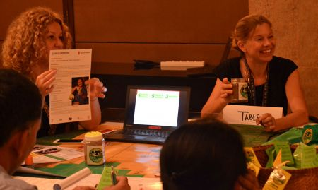 Inna Sacci and Lisa Sherburne present work from the NOURISH project in Cambodia during the Knowledge Cafe.