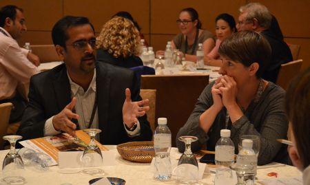 "Vamsidhar Reddy and Carolyn O'Donnell discuss group work on ""Introduction to Multi-Sectoral Programming, Collaboration, and Coordination."""