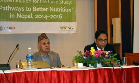 From the National Planning Commission, Mr Madhu Kumar Marasini (Joint Secretary) chaired the event and provided summary comments (Dr. Yagya Karki, Former Hon. Member, NPC, also pictured)