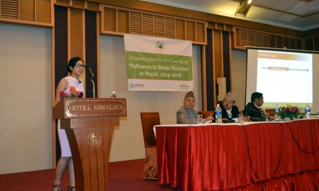 SPRING consultant Kusum Hachhethu presents the drivers of change for the PBN Nepal case study alongside the Hon. Member, Former Hon. Member, and Joint Secretary of the National Planning Commission