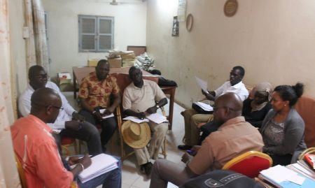 The SPRING/Senegal team and RIP FM staff exchange ideas regarding future collaborations.