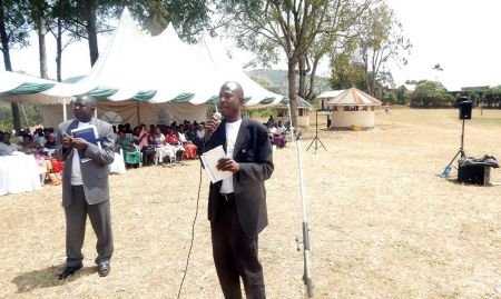 The DHO of Ntungamo, Dr. Richard Bakamuturaki, delivering his remarks.