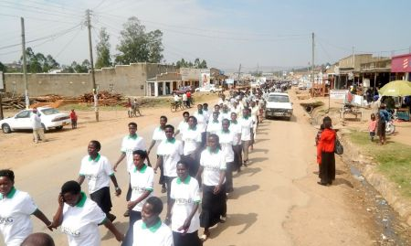 Participants marching in the streets of Kisoro during the breastfeeding commemoration day.