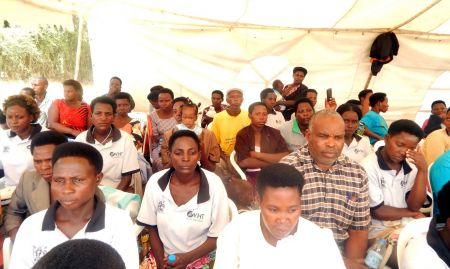 A cross section of members of the Village Health Team attending the function in Ntungamo district.