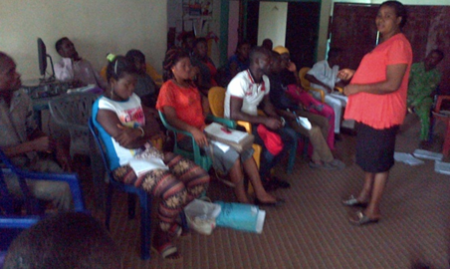 The Abi LGA Nutrition Focal Person addresses the CVs from Abi LGA during a meeting in IPGH's office. 2015
