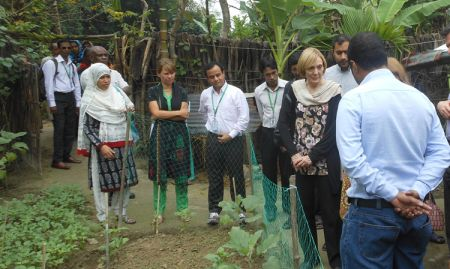 VIP USAID delegation visiting a graduated FNS household in Bahirdia Union of Bagerhat in Khulna