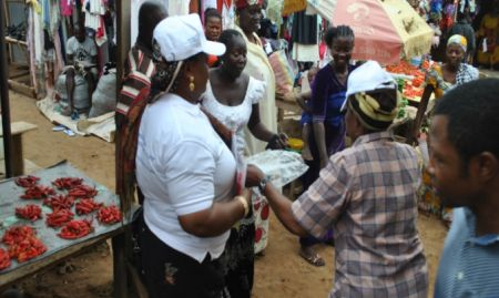 Market women dancing at Kuje Market