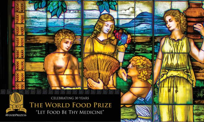 Stainglass depicting food being handed over (Image from the Borlaug Symposium)