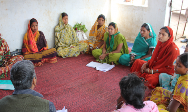 Dr. Laxmikant Palo, Save the Children India, facilitates a focus group discussion in Keonjhar District