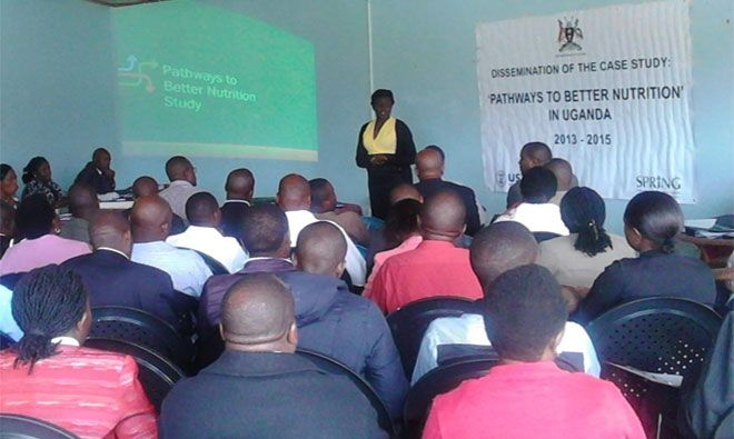 Nancy Adero, SPRING Technical Advisor for Anemia & Micronutrients, presents the PBN findings in Kisoro district. She urged districts to identify means of using conditional funds to strengthen funding for nutrition. PHOTO CREDIT: Adera Asasira, SPRING