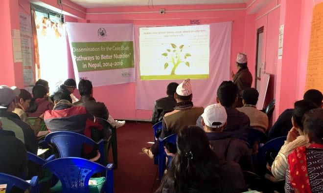 PBN Nepal team member Madhukar B. Shrestha presents final district findings in Achham